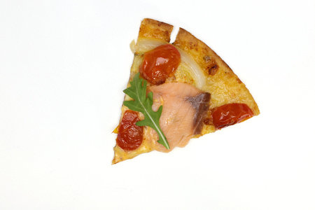 a slice of  pizza isolated on white background Stock Photo