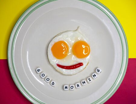 top view shot of fried eggs, sunny side up, on a white ceramic plate, isolated on bright red and yellow background