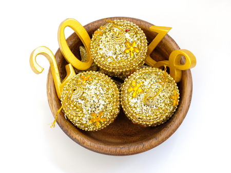 an image of golden number 2018 and golden balls, symbolizing auspicious new year