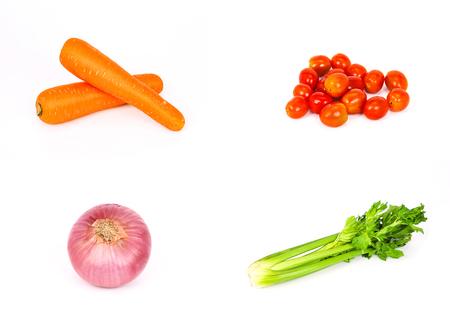 にんじん、トマト、セロリ、タマネギ、4 の隔離された白い背景のセットに示すなど栄養価の高い野菜