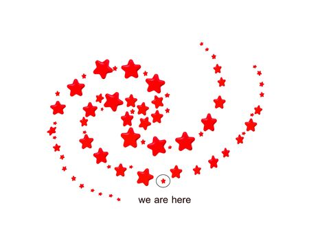 Red stars in spiral pattern, mimic of milkyway galaxy with location of our sun in the Orion arm, on white background  Stock Photo