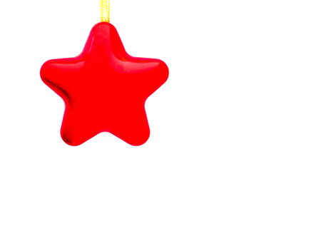 Red star, an object for Christmas or New Year decorative design. The object is isolated on white background, clipping path included, with copy space Stock Photo