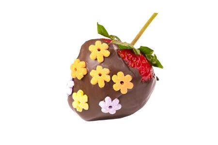 chocolate coated strawberries isolated on white background Stock Photo