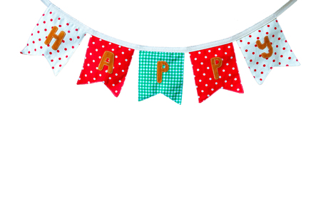 a beautiful and colorful cloth banner showing a word happy, isolated on white background, with copy space and clipping path Stock Photo