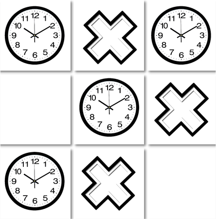 A tic tac toe pattern made of images of black and white layered crosses and wall clocks on white tile background. Illustration art.