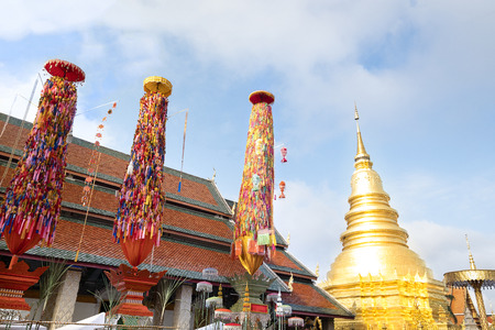 An annual festival in September at Wat Phra That Hariphunchai, Lamphun, Thailand. Nearly two dozen of 10 to 15 meters tall offering towers are constracted.