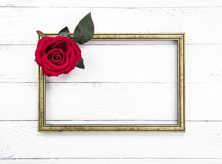 Gold colored vintage wooden frame and a beutiful solitary red rose.  Template mock up. Copy space for text.  White wooden background.
