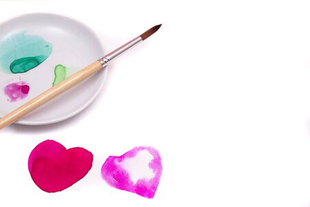 Two watercolor hearts,  on white  background. 写真素材