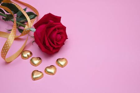 Closeup of a red rose with golden chocolate candy hearts and golden ribbon on pink background.  Valentines,  anniversary, wedding concept. 写真素材