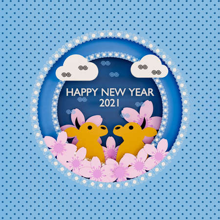 An illustration of cute baby cow models with pink cherry blossoms and oriental elements on blue background. Happy New Year 2021 card. Фото со стока
