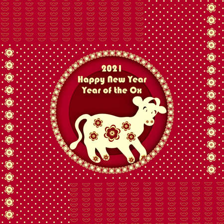 3D rendered illustration of a zodiac ox model with Chinese gold elements on red background, paper cut style. Chinese New Year, Year of the Ox.