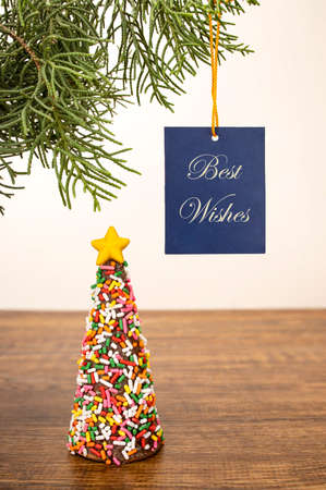 A chocolate cone in a shape of a Christmas tree coated wth multicolors sugar sprinkles with a Best Wishes banner. Фото со стока