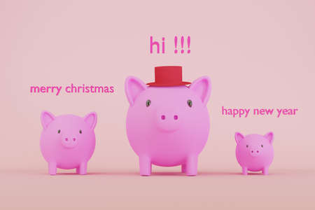 3D rendered illustration of cute pink piggy banks with joyful concept of greeting for a Merry Christmas and a Happy New Year.