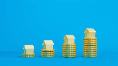 3D rendered image of stacks of gold coins with gold house models. Фото со стока