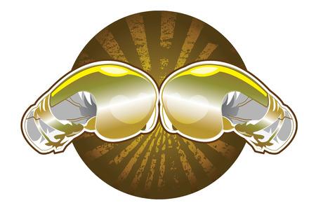 Golden boxing gloves  イラスト・ベクター素材