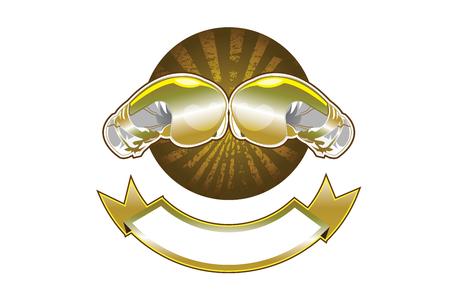 guantes boxeo: Oro guantes de boxeo bandera Vectores