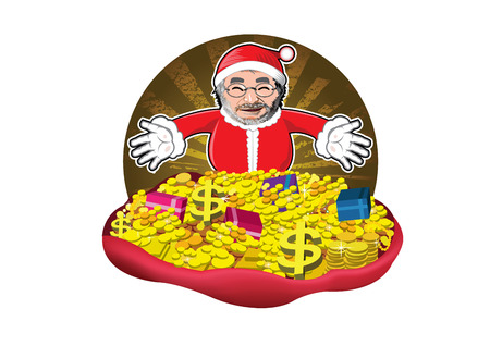degraded: Santa claus with gifts , money and gold