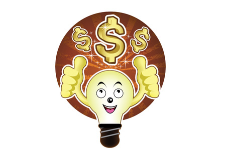id�e lumineuse: Une ampoule de bande dessin�e avec une id�e lumineuse pour dollar