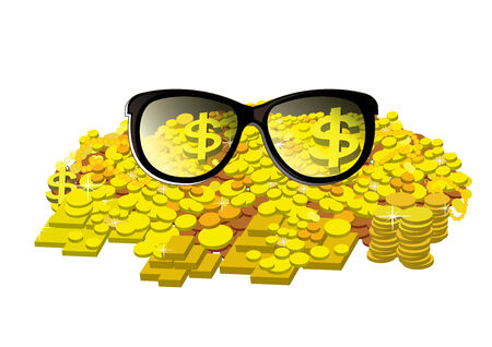 gold bar earn: Glasses with gold coin and bullion Illustration