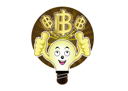 id�e lumineuse: Une ampoule de bande dessin�e avec une id�e lumineuse pour le baht
