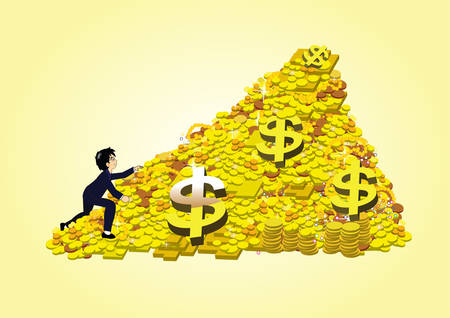 gold bar earn: a business people climbing a pile of gold coin and bullion Illustration