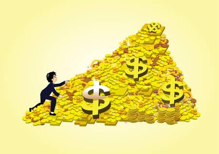 lingot or: un peuple d'affaires grimper un tas de pi�ces d'or et lingots