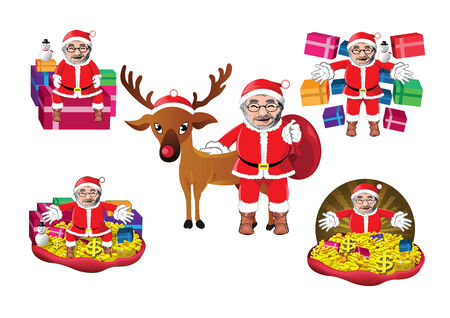 house of santa clause: Set of Santa Clauses ready for christmas