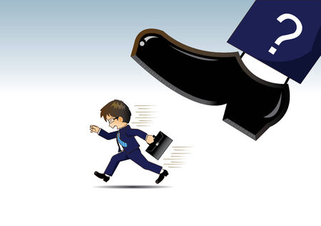 tripping: Businessman running away from Very big shoes Illustration