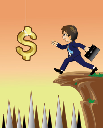 Uomo d'affari che dà mano per mantenere il dollaro