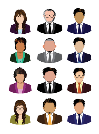 Set of business people icons isolated Vettoriali