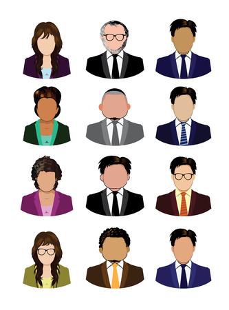 Set of business people icons isolated Çizim