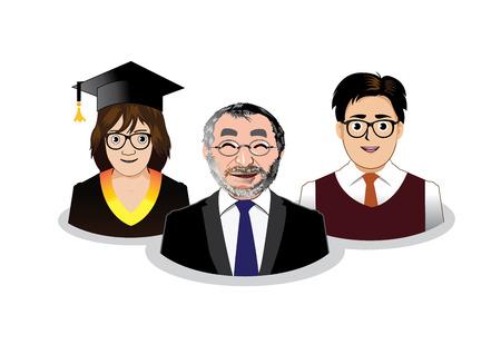 director de escuela: Tres personas de la escuela iconos