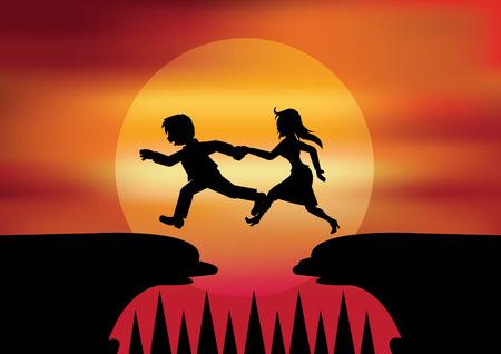 dificuldade: Man ajudou as mulheres a pular as chasm.It do conceito para Jumping em toda a dificuldade