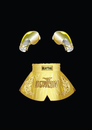 guantes boxeo: Guantes de boxeo de oro y calzoncillos tailand�s de oro