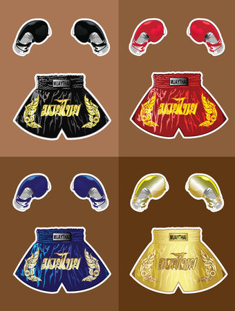 boxer shorts: Boxing gloves and thai boxer shorts set Illustration