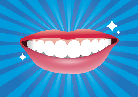 facial painting: Beautiful smiling mouth with good healthy