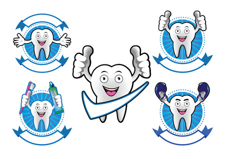 Cartoon Smiling tooth banner set Vector
