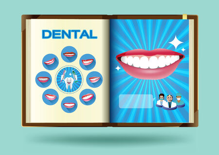 Dental set on notebook page vector illustration Vector