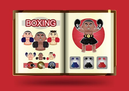 notebook page: Boxing set on notebook page vector illustration