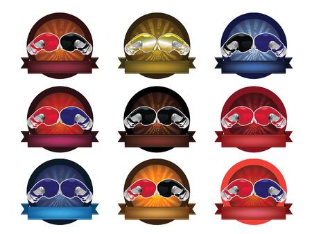 guantes boxeo: Guantes de boxeo conjunto de banner Vectores