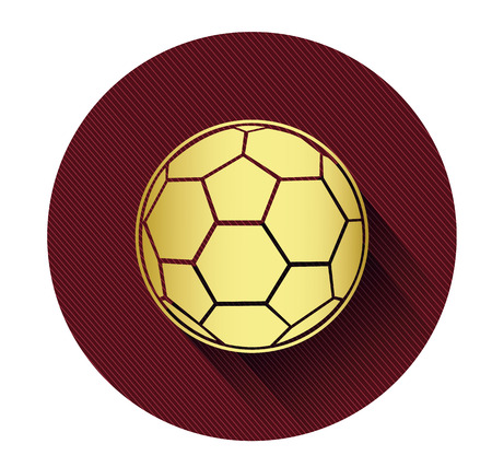shadow effect: Golden soccer ball icon with long shadow effect Illustration