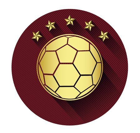 Golden soccer ball and five star icon with long shadow effect Vector