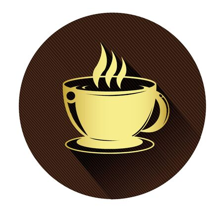 shadow effect: Golden coffee cup icon with long shadow effect