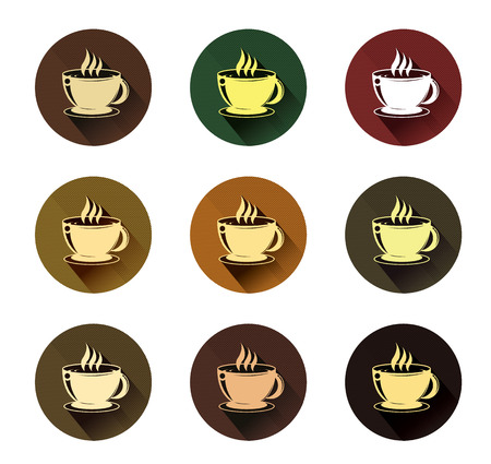 stimulant: coffee cup icons set with long shadow effect