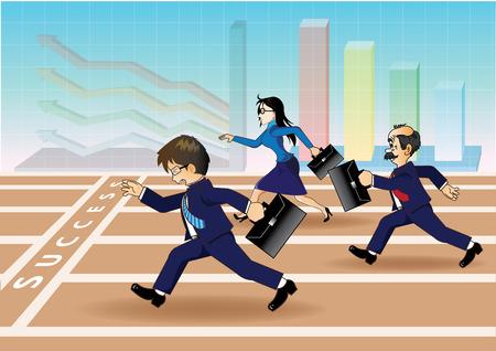 Businessman running a race to success Vector