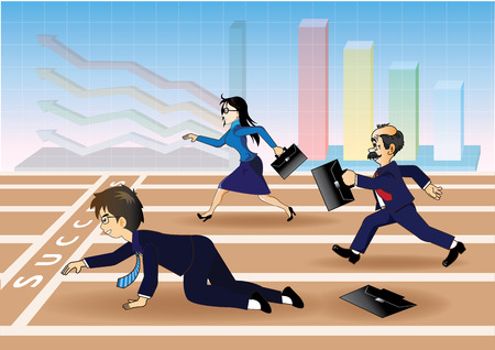 falling down: Businessman falling down before the success line