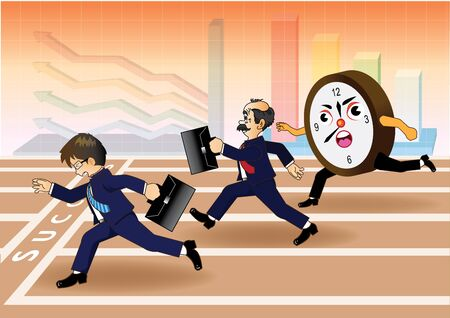 Businessman running a race against time Vector