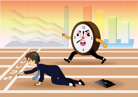 falling down: Businessman falling down while racing against time Illustration