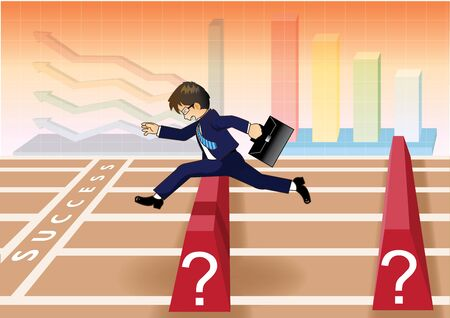 obstacles: Businessman run and jump over obstacles to success line