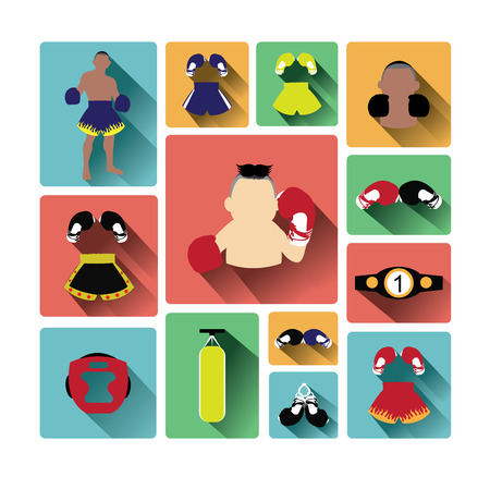 Modern flat design boxing icons set with long shadow effect Illustration